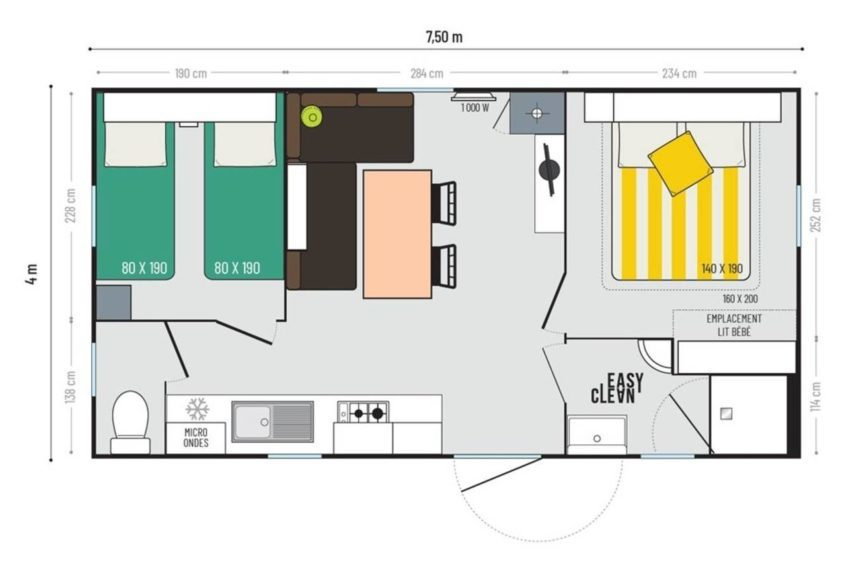 location 2 bedrooms - 6 Pers